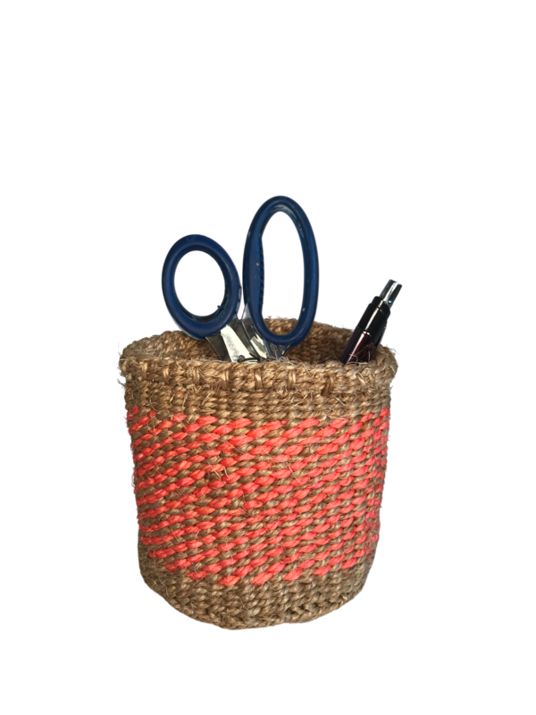 4 Inch Cute Baskets Orange on Brown