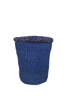 7 Inch Beaded Blue Basket