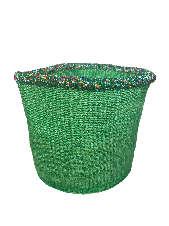 8  Inch Beaded Green Basket