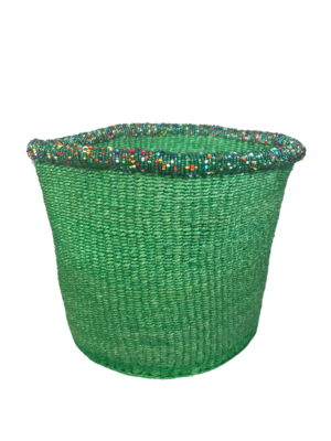 8  Inch Beaded Green Basket