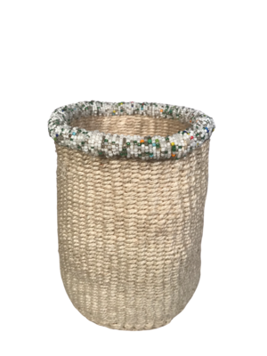 7 Inch Beaded White Basket