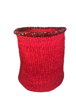 10  Inch Beaded Red Basket