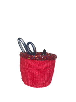 """Beaded 4"""" Tiny Basket Red"""