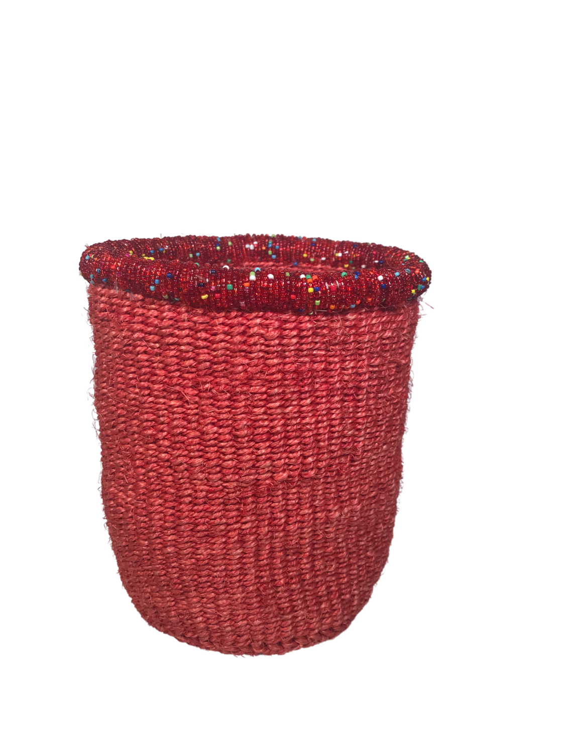 7 Inch Beaded Red Basket