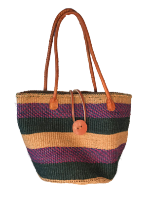 Striped purple, black and gold tote  Basket