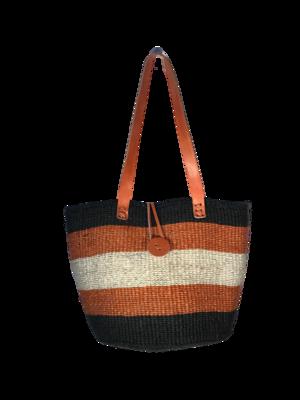 Striped Tan and Black Basket
