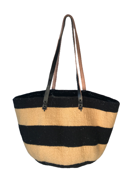 Black  And Gold Tote  Basket