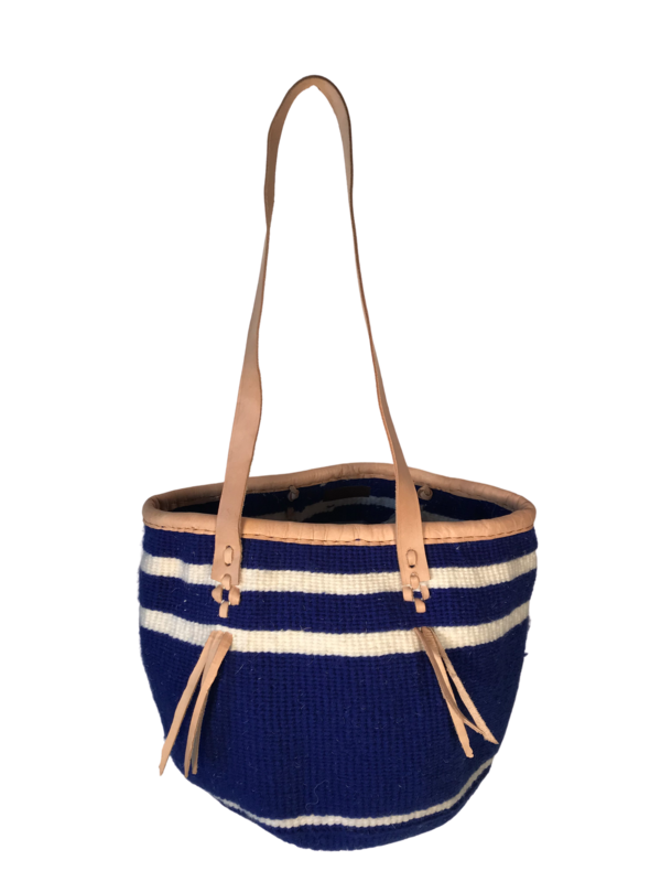 Blue And White Tote  Basket