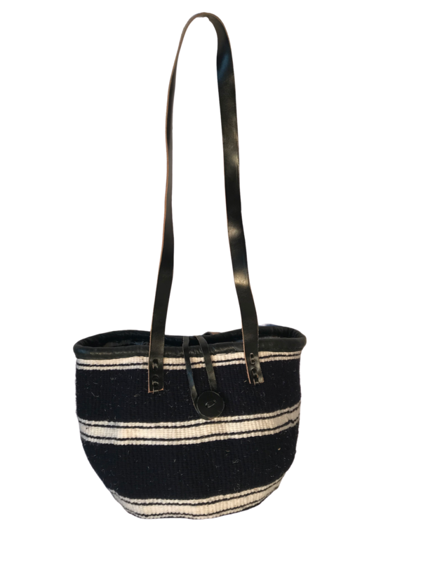 Dark Navy and White Tote Basket
