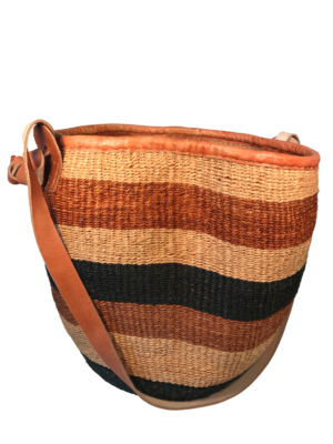 Striped Shades of Brown and Black Basket