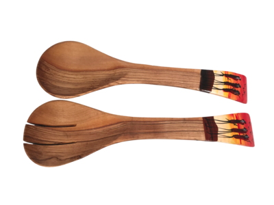 Painted Ends Olivewood Spoons