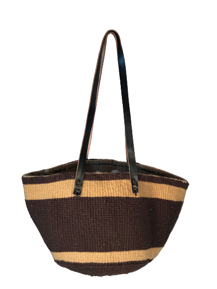 Brown With Beige Strip Tote  Basket - Upcycled Yarn
