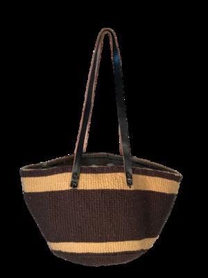Brown With Beige Strip Tote  Basket - Upcycled Yarn