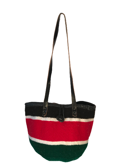 Red And Green and Black Tote  Basket - Upcycled Yarn