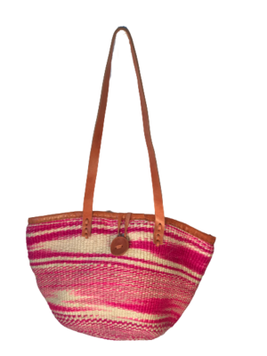Pink With White Stripe Tote  Basket