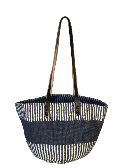 Navy and White Tote  Basket - Upcycled Yarn