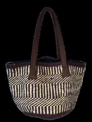 """Chocolate Brown Mixed Patterns Medium Basket - 12.5"""""""