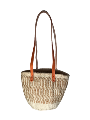 Gold and White Tote  Basket