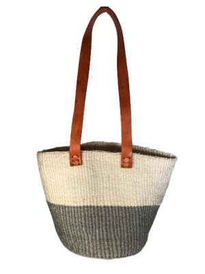 Grey and White Tote  Basket