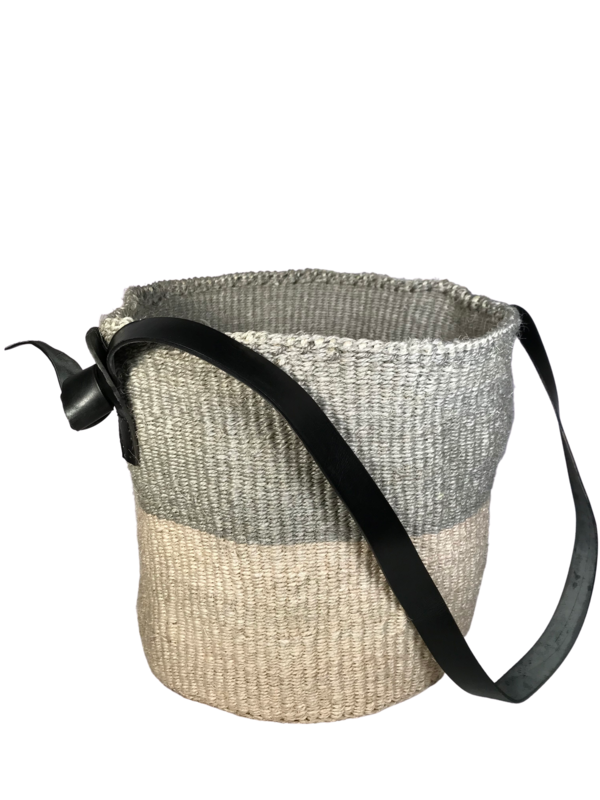 Grey and Off White Basket