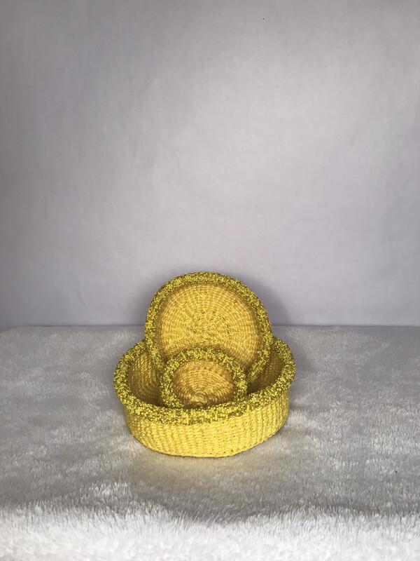 Beaded Yellow Nestling Basket set