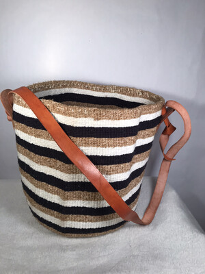 Beige Black And White Medium Basket - 12.5