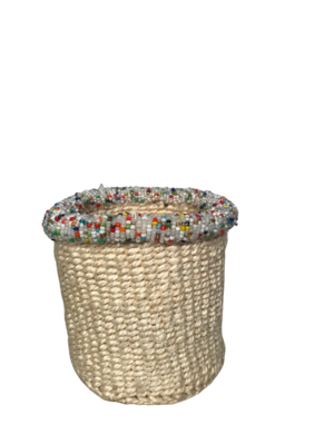 White 4 Inch Cute Baskets - colourful beads
