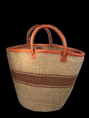 Beige And Brown Strip Basket