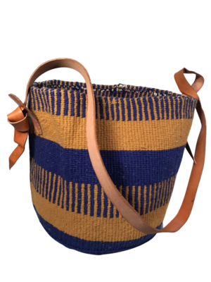 """Blue and Beige Basket - 12.5"""""""