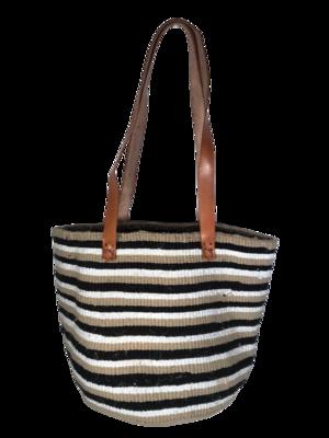 "Beige Black And White Medium Basket - 12.5"""