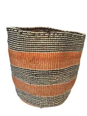 Faded Orange with Black and White stripes Planter Basket