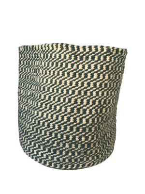 Checkered Green and White Planter Basket