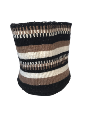 Yarn Striped Brown, Black and Cream Planter Basket