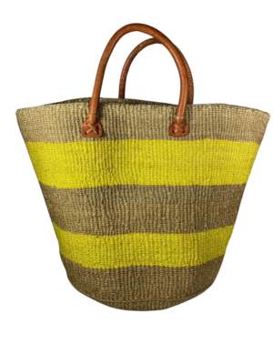 Yellow And Brown Strip Basket