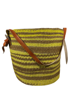 Yellow and Brown Strips Basket