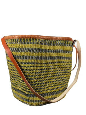 Yellow and Grey Strips Basket