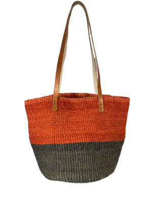 Two Tone Orange and Grey Basket