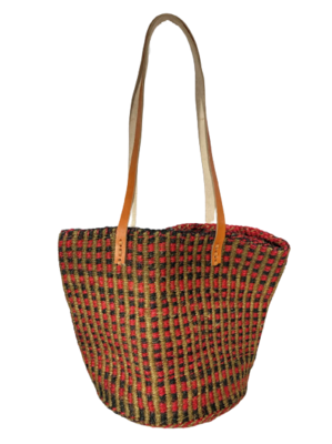 Checkered Coral and Charcoal Basket