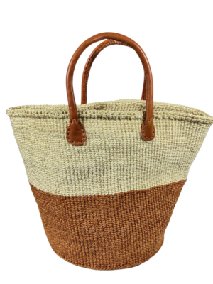 Two Tone Brown and White Basket
