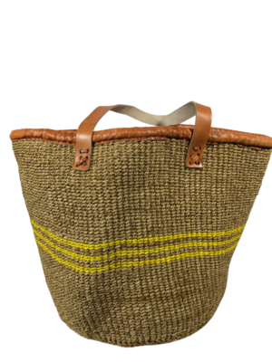 Dark Beige with Yellow Strips Basket