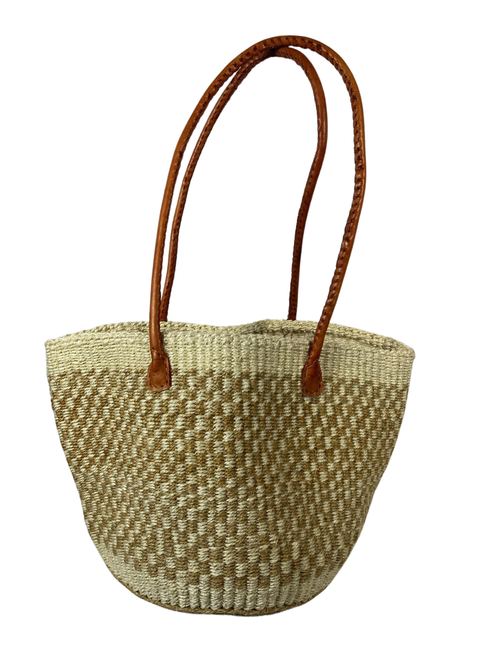 Tote Basket - Beige & White Checkered