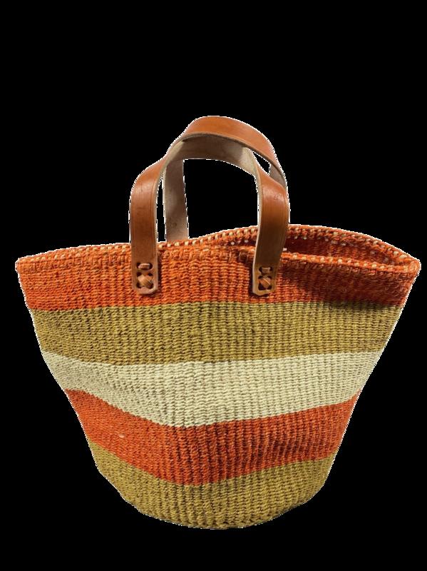 Orange, Beige and White Tote  Basket