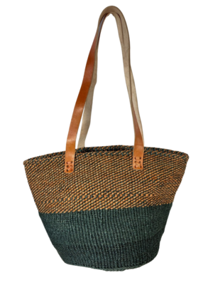 Two Tone Checkered Brown and Grey Basket