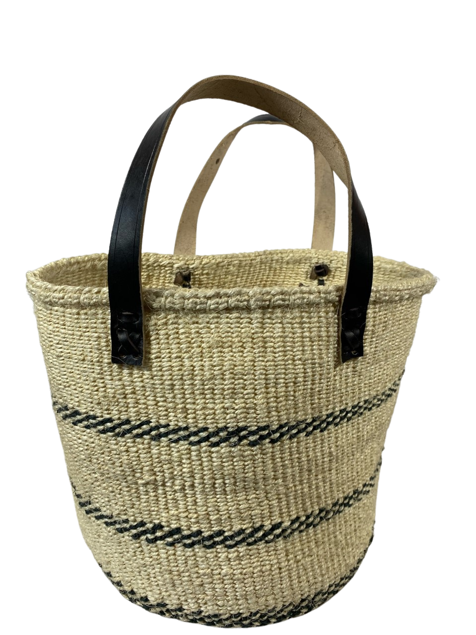White With Black Strips Tote  Basket