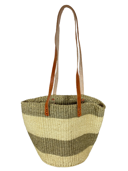Beige/ Grey and White Tote  Basket