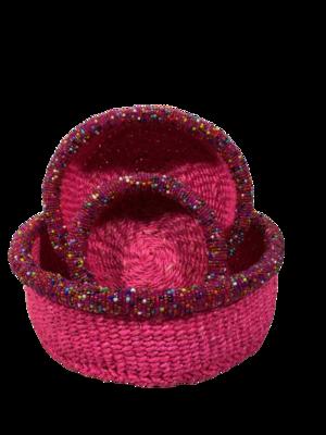 Beaded pink nestling basket set