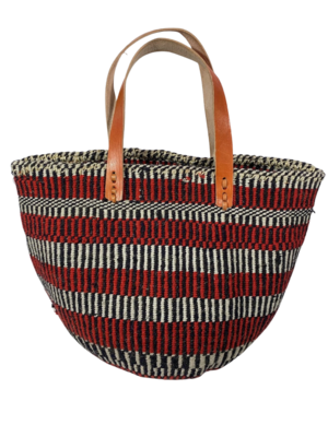 Red, Black With White Stripe Tote  Basket