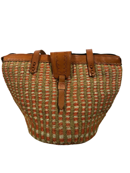 Orange and White Tote  Basket