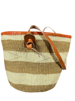 Beige And White Stripes Basket