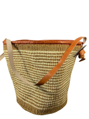Beige And White Strips Basket